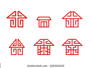 Home logo and icon in Chinese linear style, vector