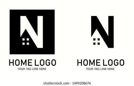 home logo and icon shillouete, N word symbol.