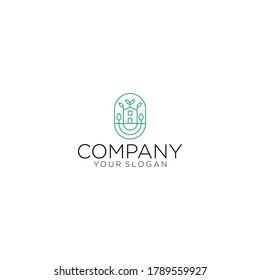 Home logo and leaf flower in eco ecology nature concept on rounded logo design illustration vector. Fresh home logo