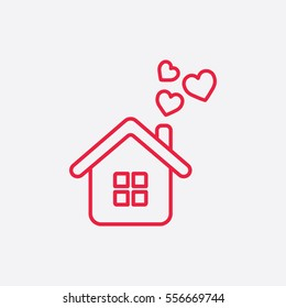 home love care heart valentine line icon red on white background