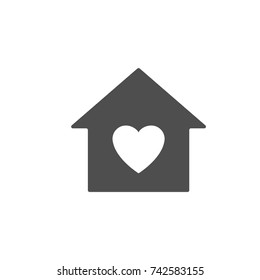Home love symbol, house withing heart shape within, flat design vector.
