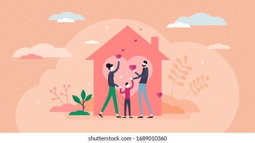 Home love vector illustration. Covid-19 coronavirus stay home strategy flat tiny persons concept. Family relationship care in crisis. Kids and parents protection in dangerous pandemic outbreak time.