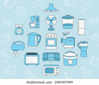 Home machines Icons set - Vector color symbols and outline of microwave, oven, refrigerator, vacuum, blender, kettle and other appliances for the site or interface