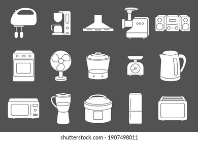 Home machines Icons set - Vector silhouettes of microwave, oven, refrigerator, vacuum, blender, kettle and other appliances for the site or interface
