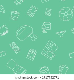 Home machines - Vector background (seamless pattern) of microwave, oven, refrigerator, vacuum, blender, kettle and other appliances for graphic design