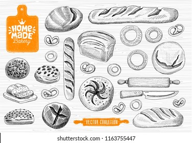 Home made bakery logo, baking, bread vector collection. Bakery house logo design, food shop. bread, baguette, bagels, home baking, cutting board, knife, rolling pin. Hand drawn vector illustration.