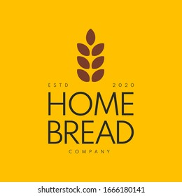 Home Made Bread Symbol, Organic Bread Store Emblem. Pastry Shop Organic Desert Cafe Premium Logo Design Template. Vector Illustration.