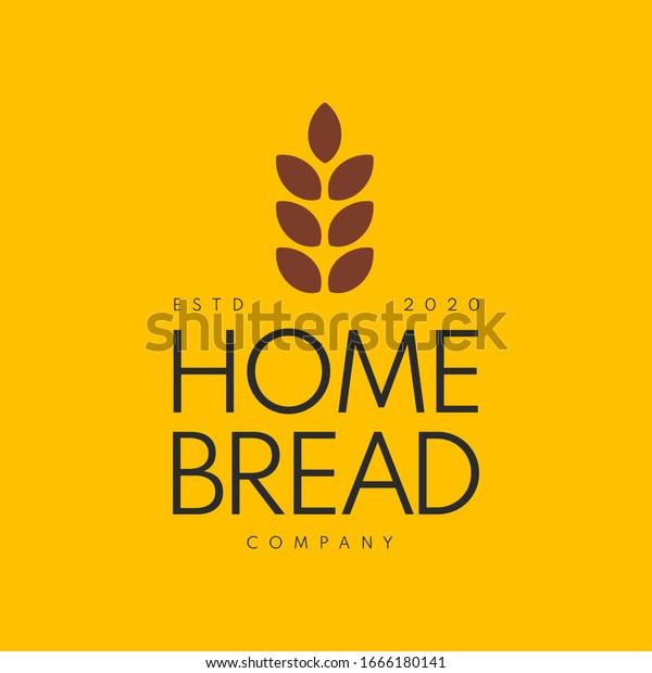 Home Made Bread Symbol, Organic Bread Store Emblem. Pastry Shop Organic Desert Cafe Premium Logo Design Template. Vector Illustration.