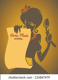Home made cooking in retro style, vector commercial background