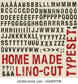 Home made woodcut typeset