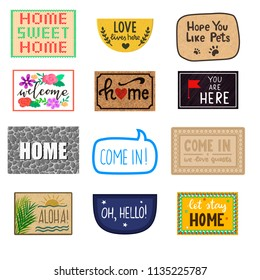 Home mat vector welcome doormat of front house entrance