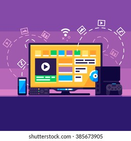 Home Media Center. Smartphone, Smart TV, game console, gamepad. Vector flat illustration.