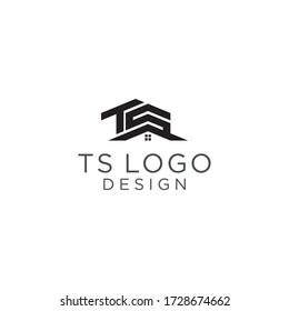Home Monogram Initials TS Logo Design Vector