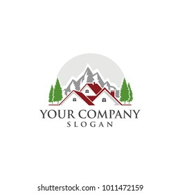 home and mountain logo design vector modern