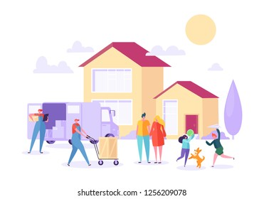 Home Move with Removal Porter Help. Happy Family Moving to new Home using Courier Service. Transportation Heavy Cargo. Flat Cartoon Vector Illustration