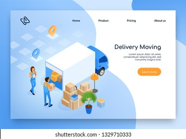 Home Moving Company, Delivery Service Isometric Vector Web Banner or Landing Page with Female and Male Workers in Uniform Loading or Unloading Furniture and Home Stuff Packed in Boxes Into Cargo Truck