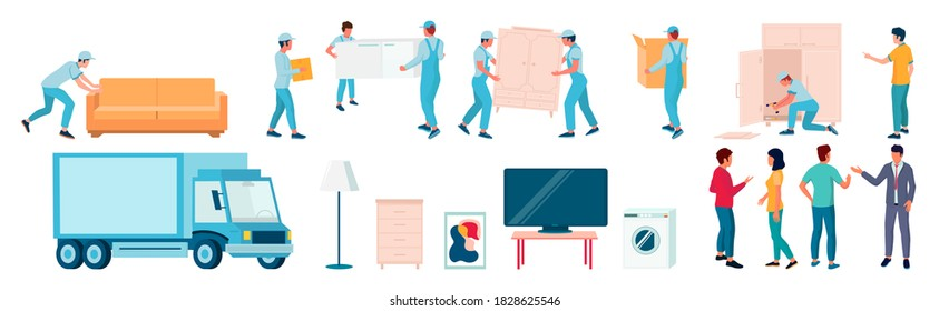 Home moving and relocation set, flat vector isolated illustration. Delivery truck, workers, loaders, movers carrying cardboard boxes, sofa, assembling furniture. Moving and delivery company services.