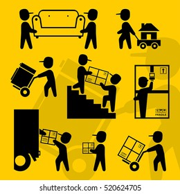 Home moving workers symbols