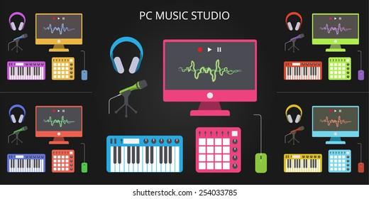 Home music studio in flat style design black background