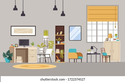 Home office cabinet living room interior concept. Vector flat graphic design cartoon illustration