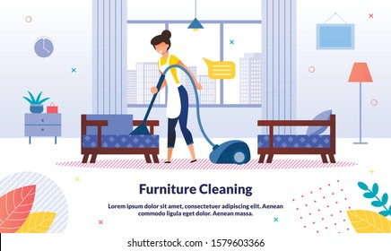 Home, Office Cleaning Company, Hotel Room Cleanup Service Trendy Vector Advertising Banner, Promo Poster Template. Housewife, Hotel Female Attendant Cleaning Furniture with Vacuum Cleaner Illustration