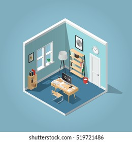 Home office concept isometric vector illustration. Detailed isometric side view interior home office room with bookshelf, desk, clocks, box, chair, books, laptop / computer, papers, coffee cup.