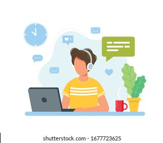 Home office concept, man working from home, student or freelancer. Cute vector illustration in flat style