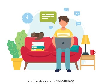 Home office concept, man working from home sitting on a sofa, student or freelancer. Cute vector illustration in flat style
