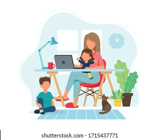 Home office concept. Woman working from home with kids in cozy modern interior. Vector illustration in flat style