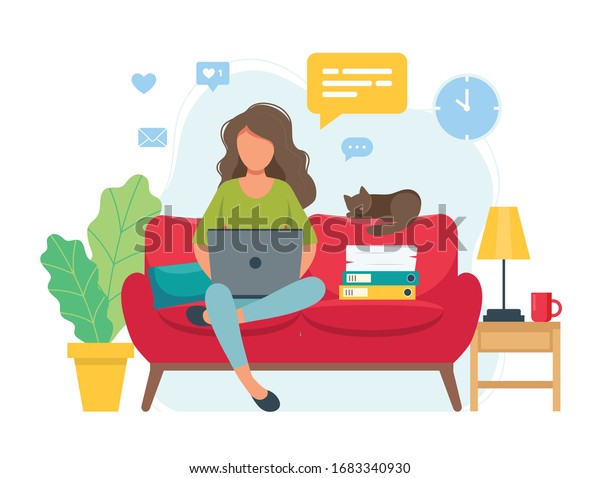 Home office concept, woman working from home sitting on a sofa, student or freelancer. Cute vector illustration in flat style