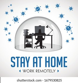 Home office concept - home work during quarantine - Corona virus warning - man with laptop under glass dome protection - stay at home work remotely