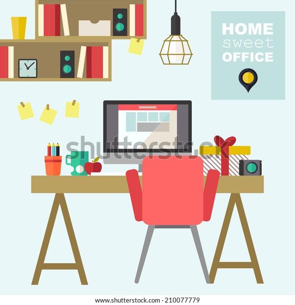 Home office flat interior vector illustration