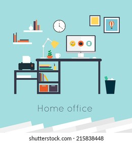 Home office. Furniture and Accessories. Flat design vector illustration of modern home office interior with designer desktop