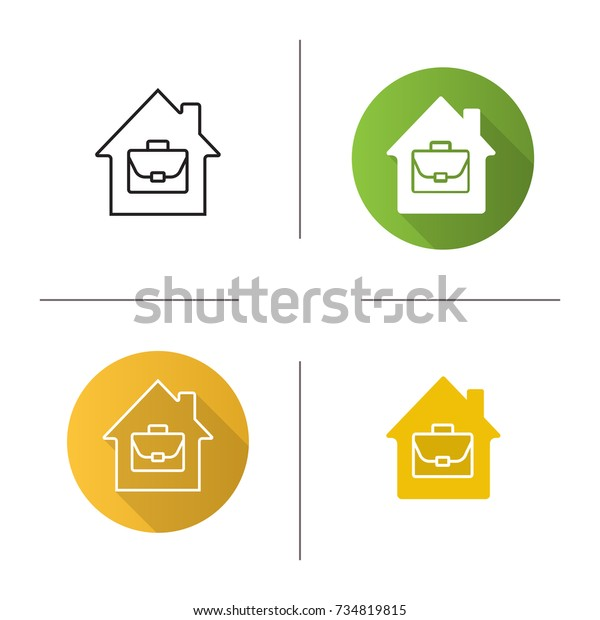 Home Office Icon Flat Design Linear Stock Vector (Royalty