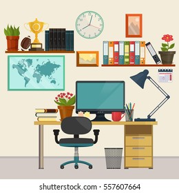 Home Office interior, Business education and workplace set with furniture, office technology equipment, plants. Vector