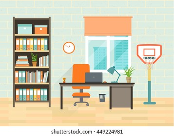Home office interior with  desktop, bookcase, window and basketball. Flat vector illustration
