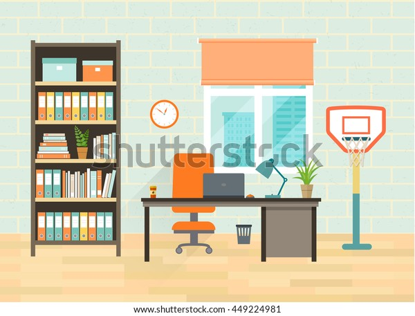Home Office Interior Desktop Bookcase Window Interiors