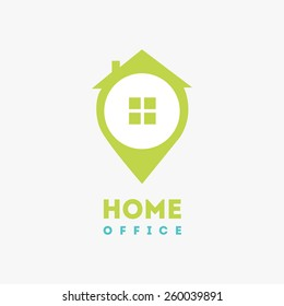 Home office logo icon design template element  in flat style. Vector abstract colorful logotype, sign isolated