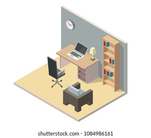 Home office low poly isometric interior vector illustration cabinet