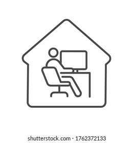 Home office remote work icon editable stroke computer desktop