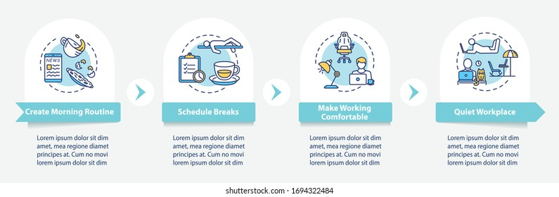 Home office, remote work tips vector infographic template. Schedule, workplace presentation design elements. Data visualization with 4 steps. Process timeline chart. Workflow layout with linear icons