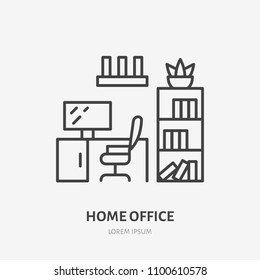 Home office, study room flat line icon. Apartment furniture sign, vector illustration of cabinet table, chair, bookcase. Thin linear logo for interior store.