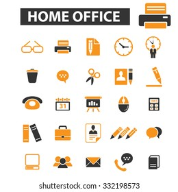 home office, supplies, document, workplace icon & sign concept vector set for infographics, website