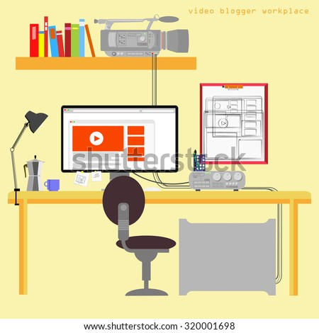 Items home office Decor Home Office Vector Illustration On Yellow Background Cute Cartoon Items Blogger Work Place Shutterstock Home Office Vector Illustration On Yellow Stock Vector royalty Free
