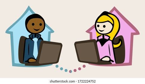 Home office - Young man and woman sitting on notebooks in a their houses and talk to each other.