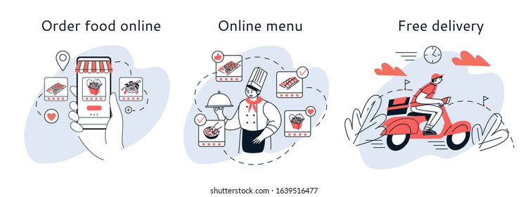 Home online ordering and delivery of food. The concept of a mobile app meal selection online.