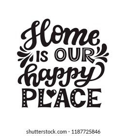 Home is our happy place.Hand drawn lettering quote. Vector typography for prints, home, kids room decor, housewarming