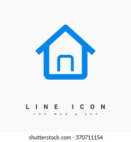 Home page isolated minimal single flat linear icon in color. Line vector icon for websites and mobile minimalistic flat design.