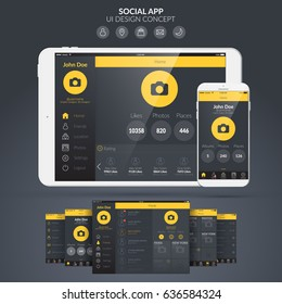 Home page social application ui design concept flat vector illustration
