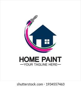 Home Painting Vector Logo Design.Home House Painting Service Coloring Logo Design Template.House painting service, decor and repair multi color icon Vector logo.